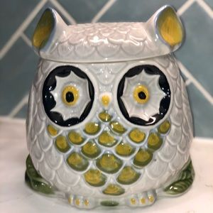 HTF ANTHROPOLOGIE Owl Cookie Jar Made In Italy
